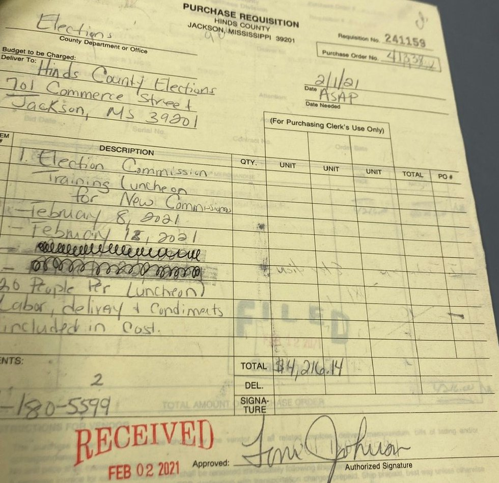 Former Commission Chair Toni Johnson signed a requisition form for a $4,200 training luncheon,...
