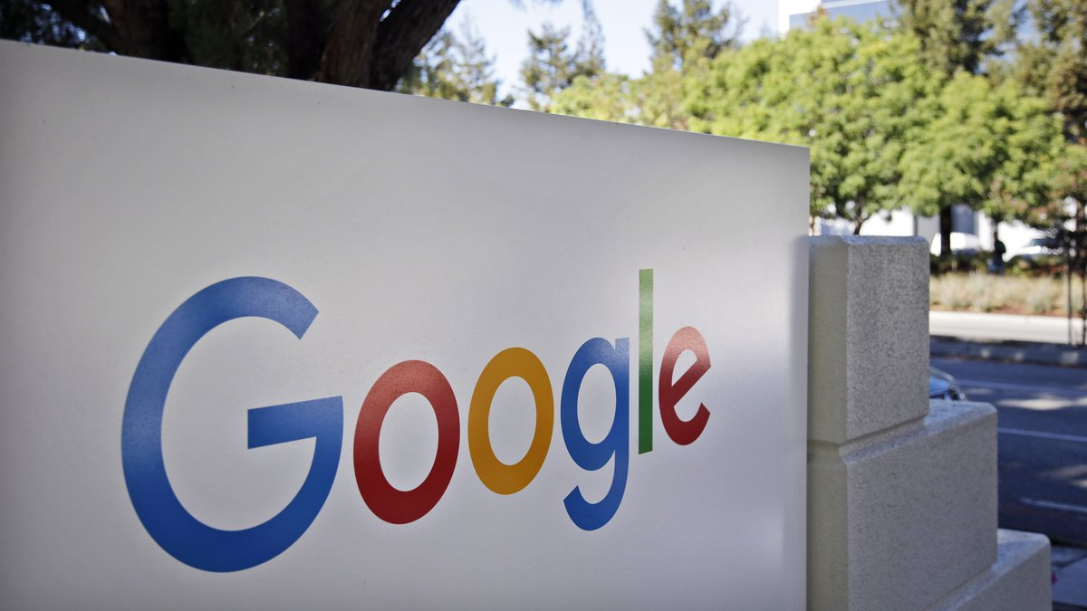 FILE - In this Oct. 20, 2015 file photo, signage sits outside Google headquarters in Mountain...