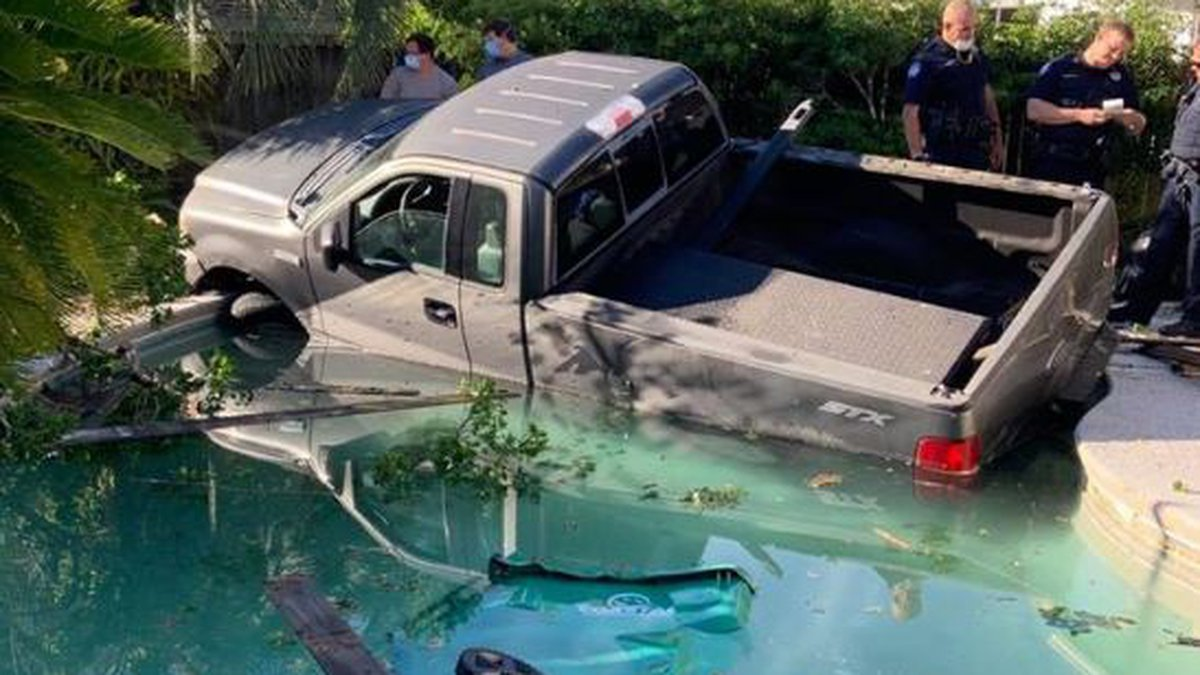 No one was injured in this vehicle accident in which this truck was accidentally backed through...