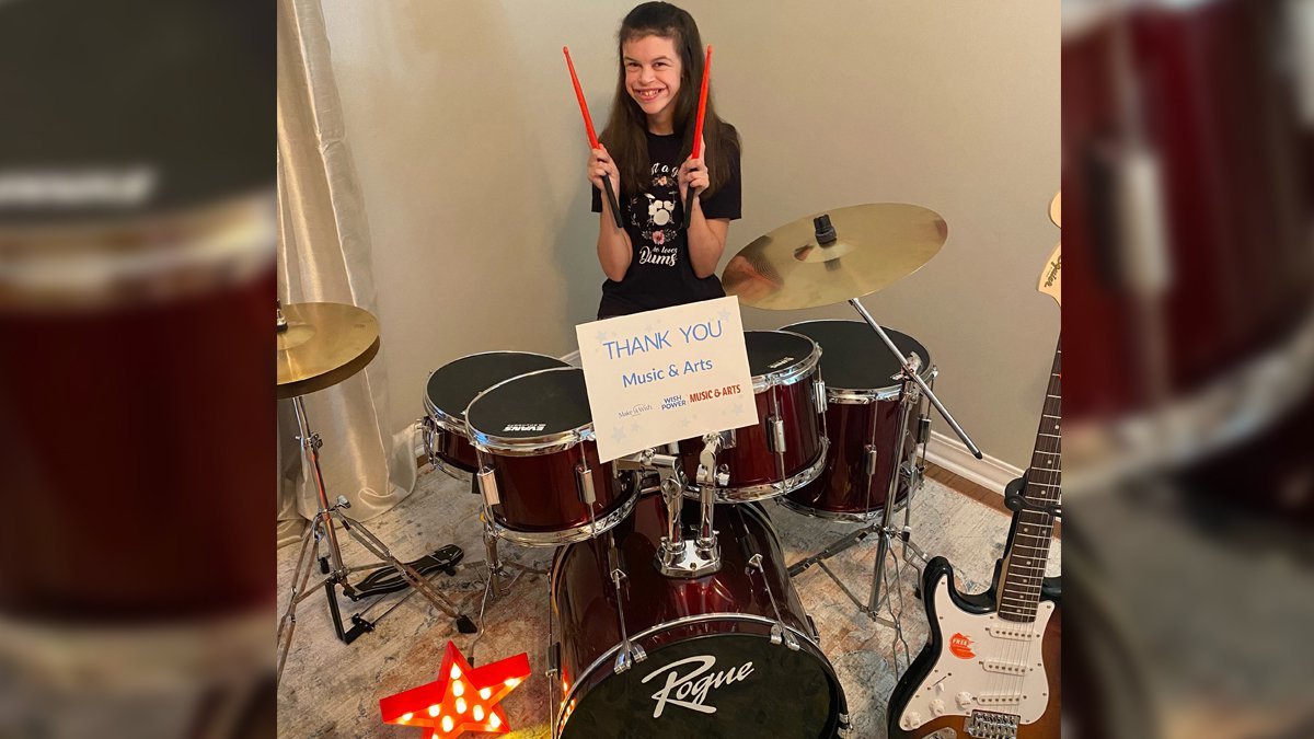 Sydney Mead, pictured in her new music room outfitted by Make-A-Wish Mississippi with gear from...