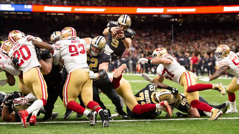 Drew Brees accounted for 4 TDs in the first half.