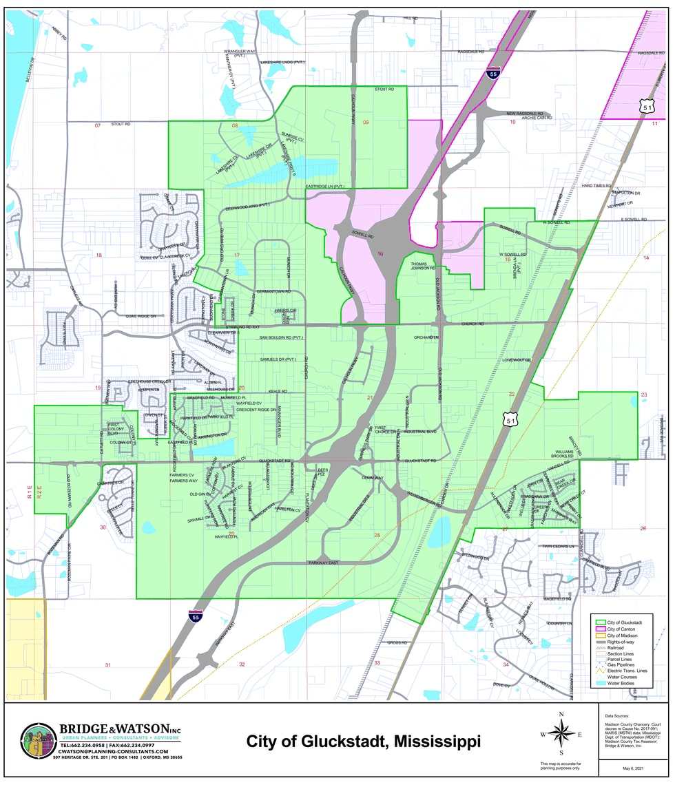 Detailed map of the new Gluckstadt city limits.