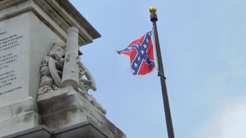 Traditional raising of Confederate Flag (source: WIS)