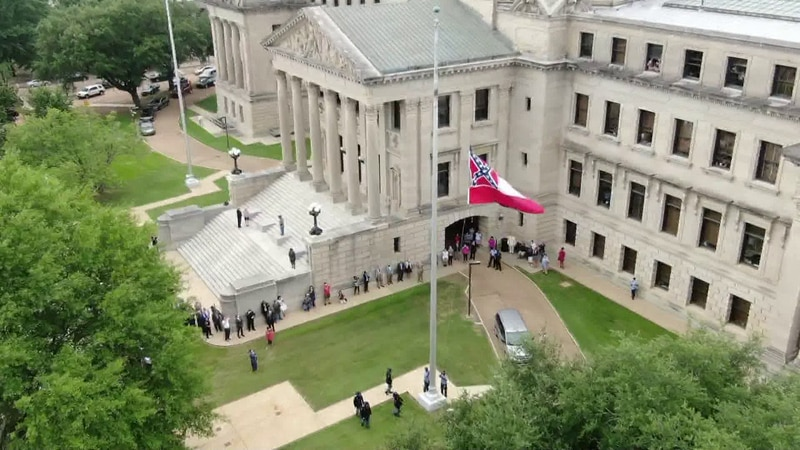 The state flag was removed for the final time Wednesday.