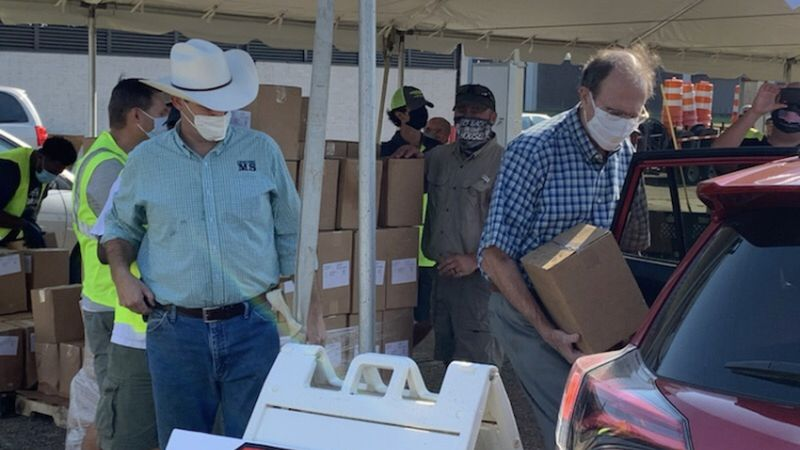 Dairy food box giveaway at MS State Fairgrounds