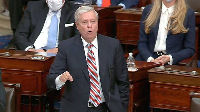 Sen. Lindsey Graham speaks during a Senate debate Wednesday night on an objection to confirm...