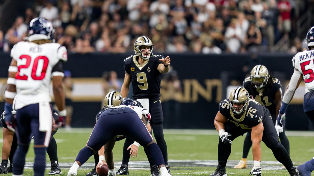 Saints left Guard Andrus Peat awaits the snap of the ball in New Orleans' week one matchup...