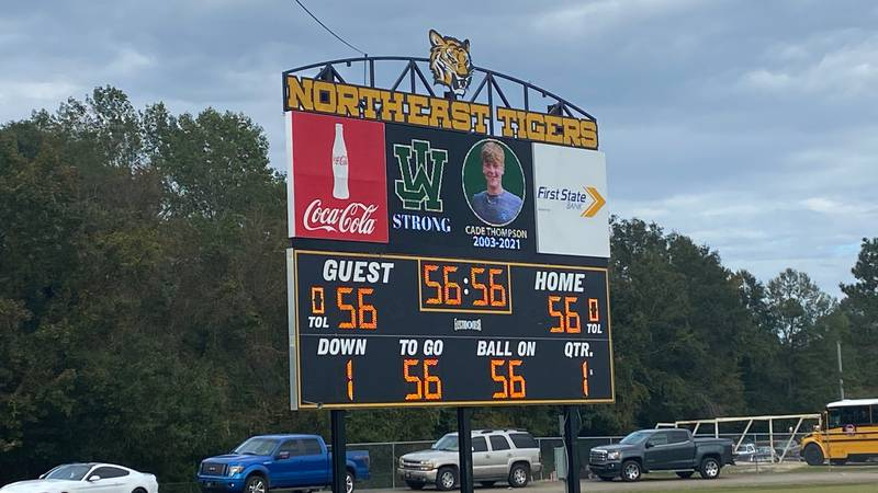 Northeast Jones honored West Jones senior Cade Thompson by putting his photo and jersey number,...