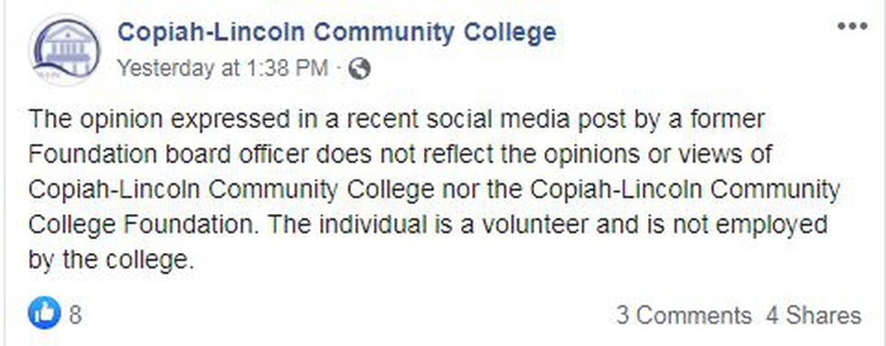 Copiah-Lincoln Community College response to volunteer's comment