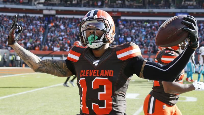 Cleveland Browns wide receiver Odell Beckham Jr. celebrates after a 35-yard touchdown during...