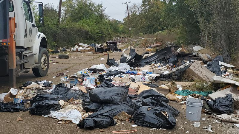 Trash collected on Capers Ave and Monument Street.