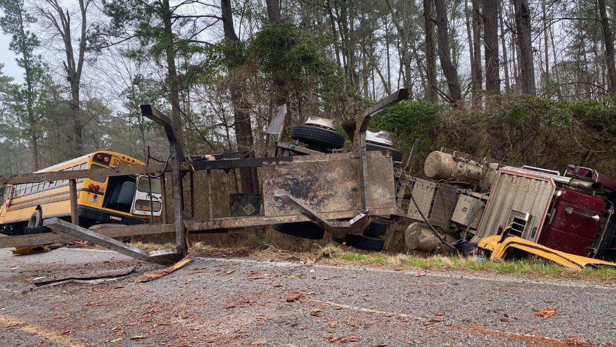 An 18-wheeler and a school bus are reported to have been involved in the collision. There were...