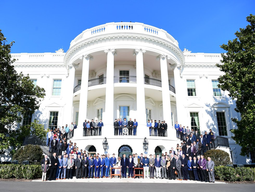 The LSU football team visited with President Donald Trump at the White House in Washington,...