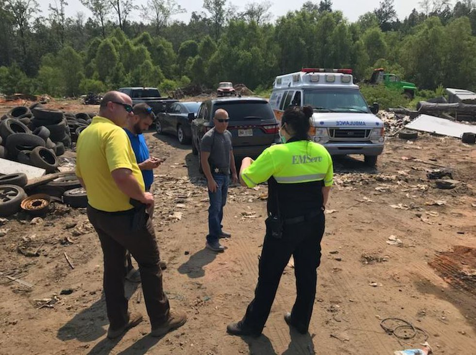 First responders on the scene of an explosion in Jones County.