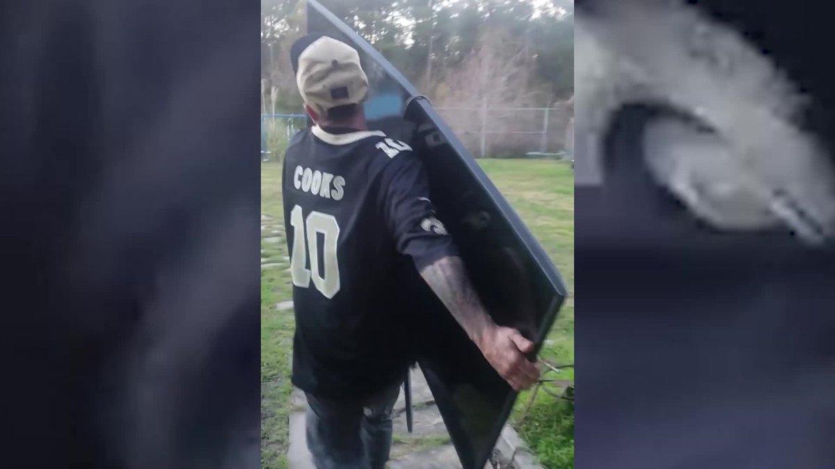 GF Default - Saints fan tosses TV after heartbreaking missed call