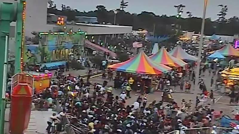 RAW: Surveillance video captures stampede at Louisiana Crawfish Festival
