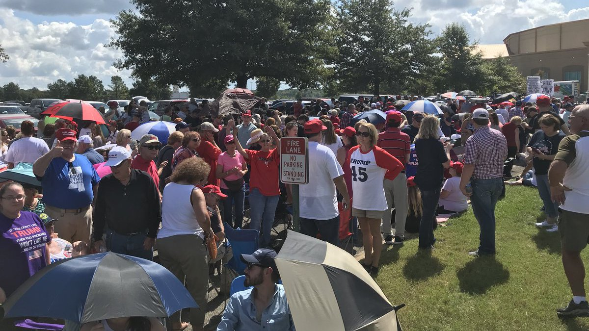 The crowd outside Landers Center on Tuesday afternoon.