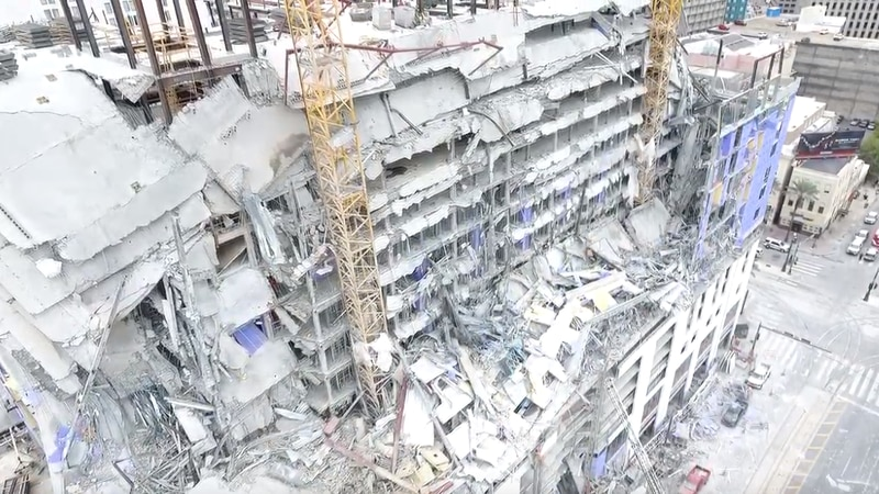 A drone captured the aftermath of the building collapse in downtown New Orleans.