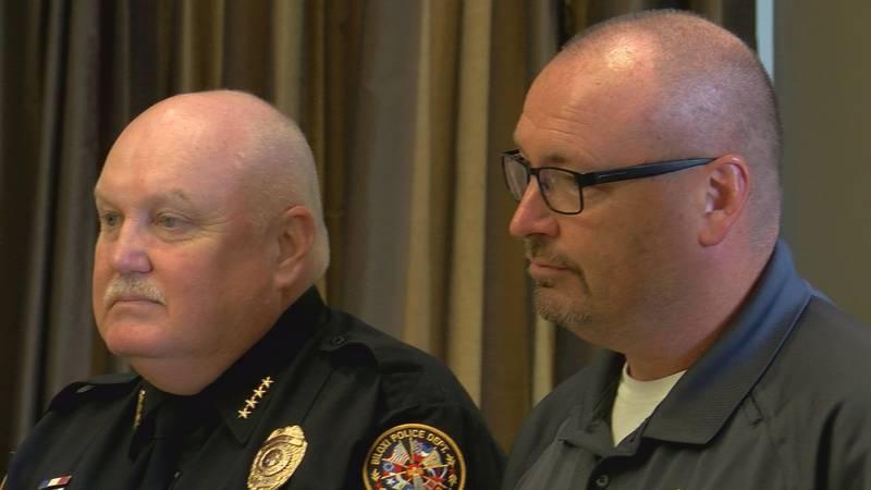 Biloxi Police Chief John Miller (left) and Officer Robert Wheeler at the department's Quarterly...