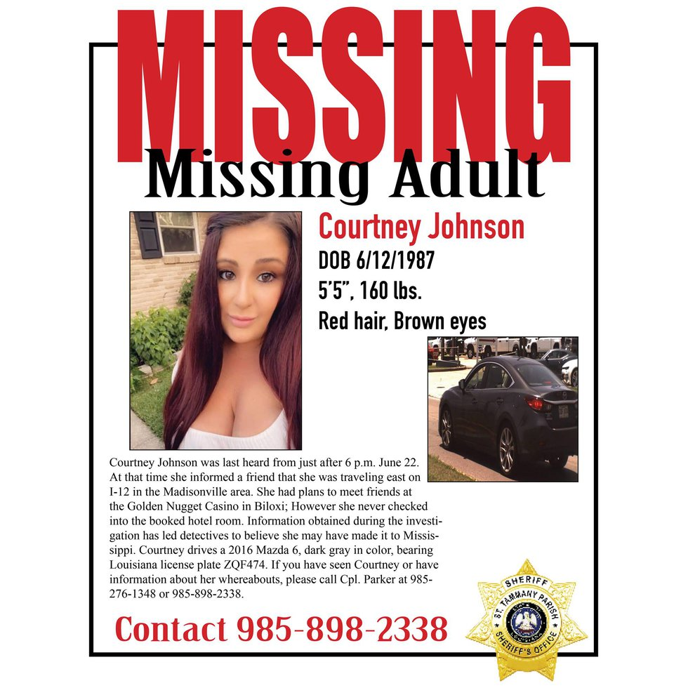 Louisiana resident Courtney Johnson was reported missing after friends told authorities she had...