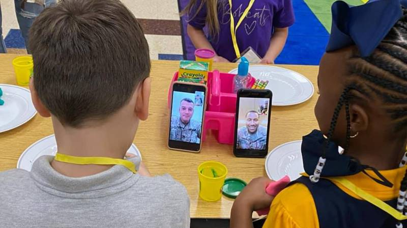 Military dads serving in different states both FaceTime their kids on first day back to school