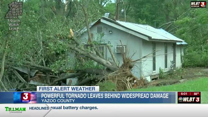1 person injured while cleaning up debris in Yazoo County