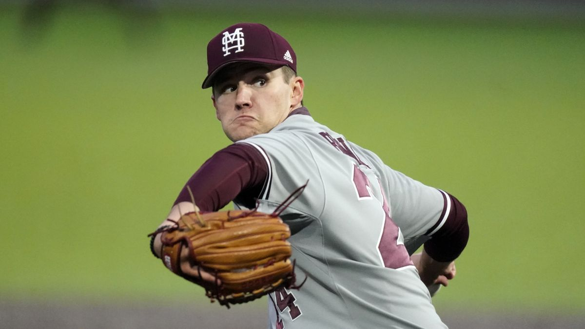 Mississippi State pitcher Will Bednar throws against Vanderbilt in an NCAA college baseball...