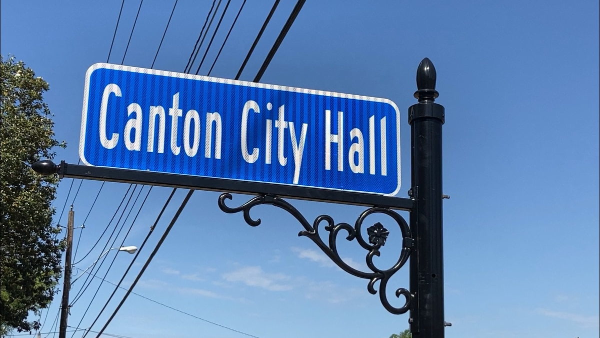 Sign out front of Canton City Hall.