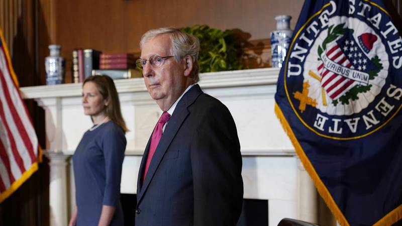 Senate Majority Leader Mitch McConnell of Ky., meets with Supreme Court nominee Judge Amy Coney...