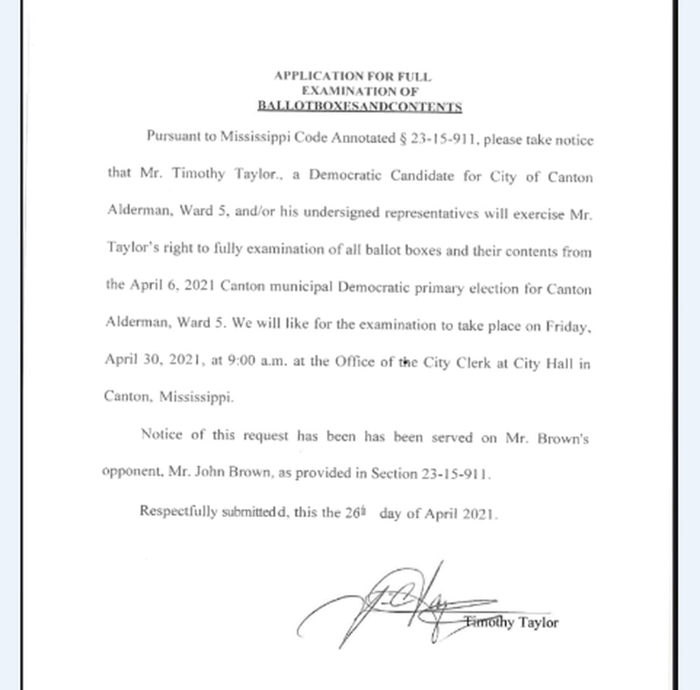Natwassie Truly said Taylor never requested a hearing, and only requested to review ballot boxes.