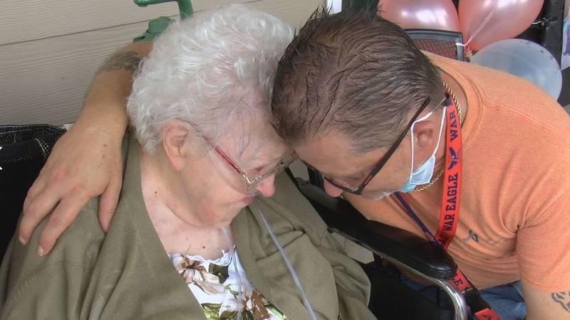 Edith Ferrill talks with an employee at George Regional Health System's Health & Rehab Center...