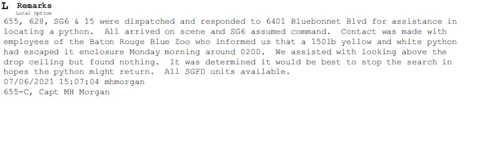 Above is the official incident report from the St. George Fire Department.