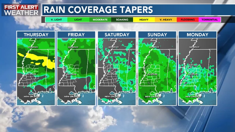 Rain Chance, Coverage Taper Into Weekend Ahead