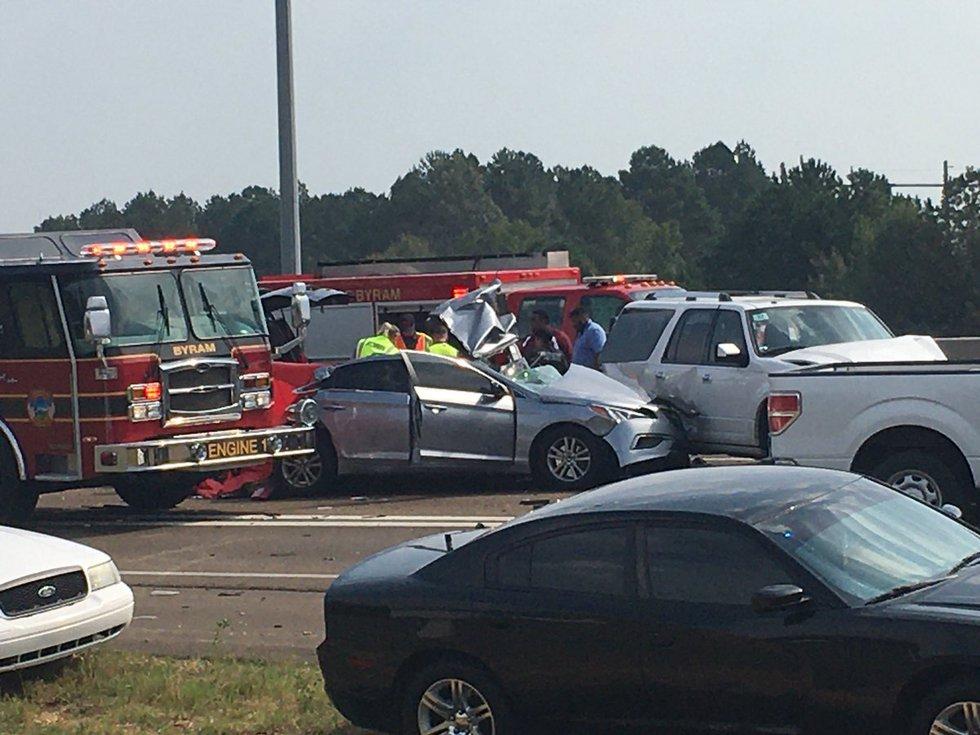 Wreck on I-55 at Byram; Source: WLBT
