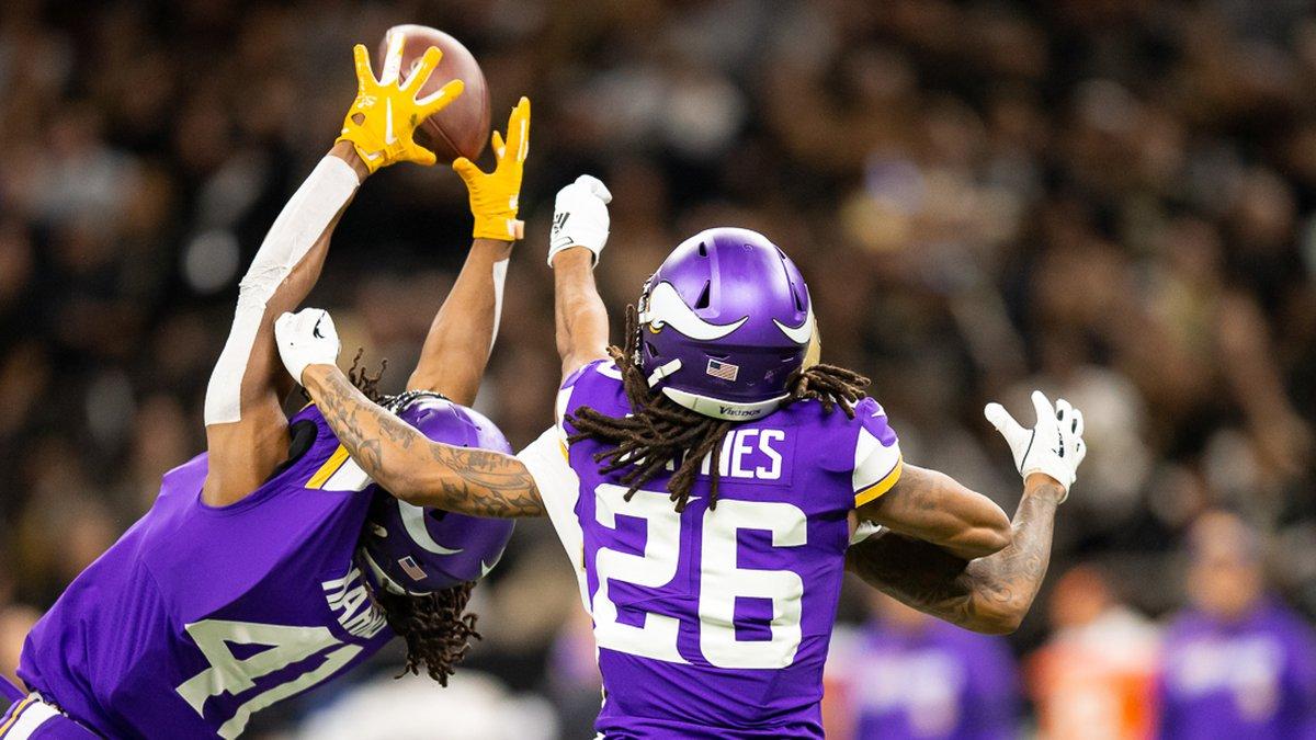 The Vikings' Anthony Harris intercepts Drew Brees. (Source: Mark LaGrange)