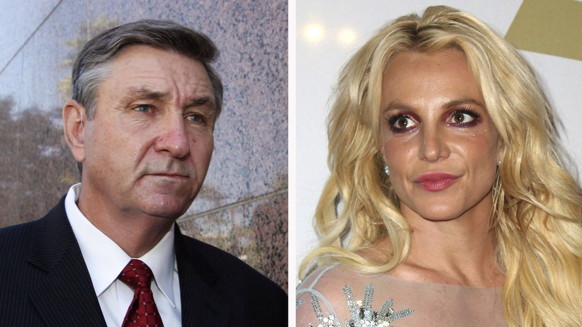 This combination photo shows Jamie Spears, left, father of Britney Spears, as he leaves the...