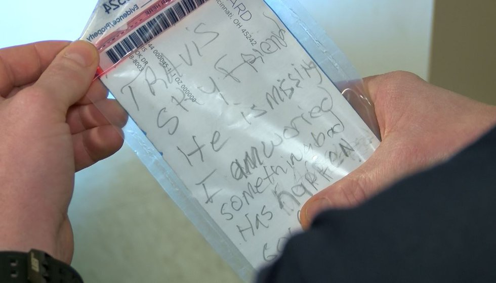Note left by Travis Brewer at Burnley's uncle's home (Source: WLBT)