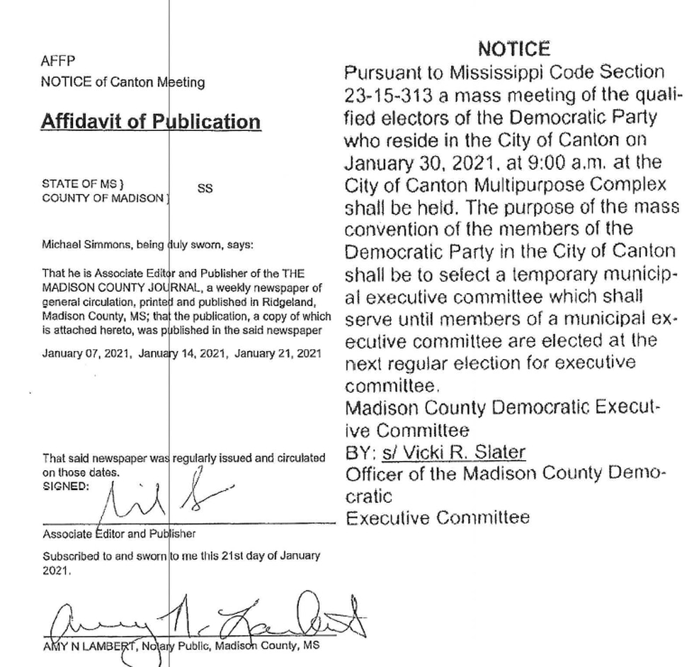 A copy of the public notice that appeared in the Madison County Journal advertising the...