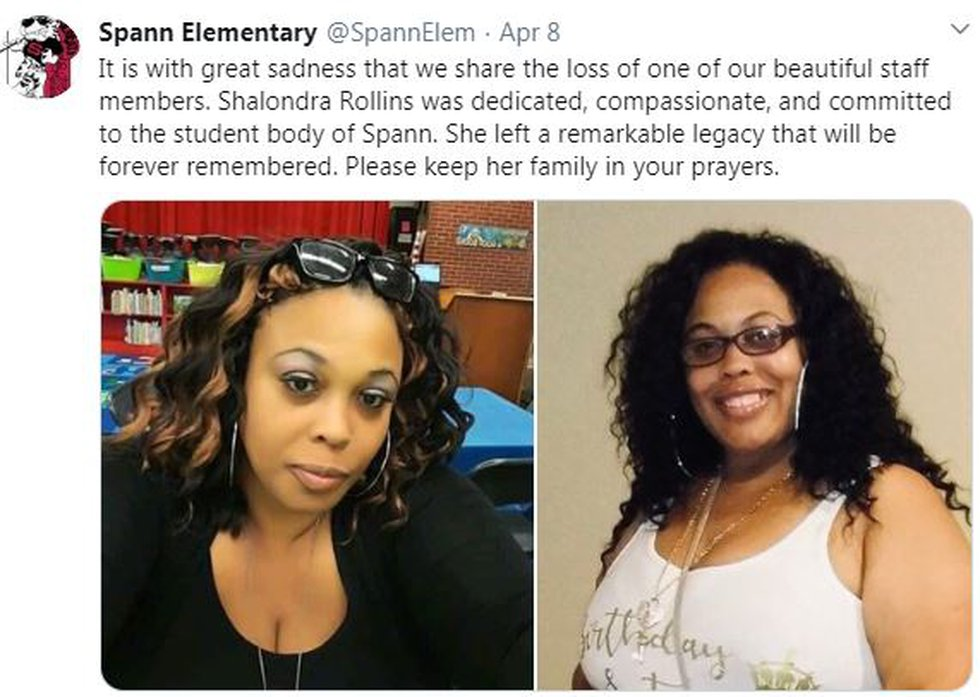 Principal Lori G. Torrey says she has asked parents to share the news of Rollins' passing with...