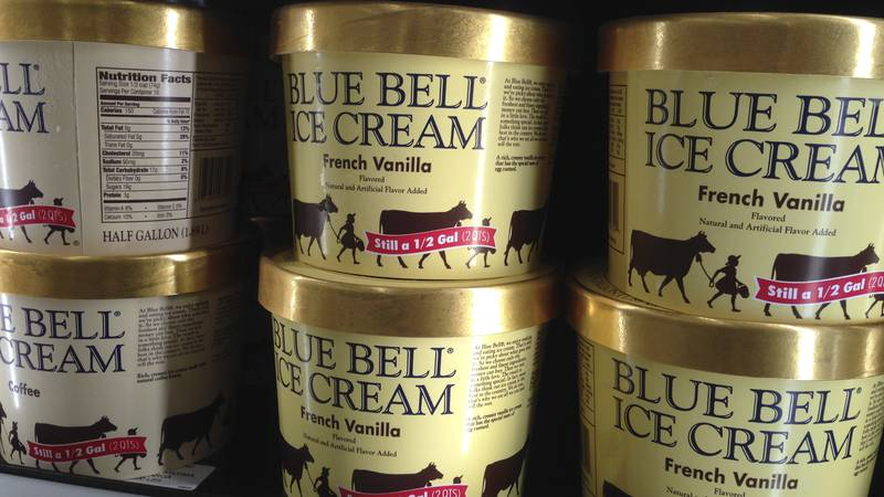 In this April 10, 2015, file photo, Blue Bell ice cream rests on a grocery store shelf in...