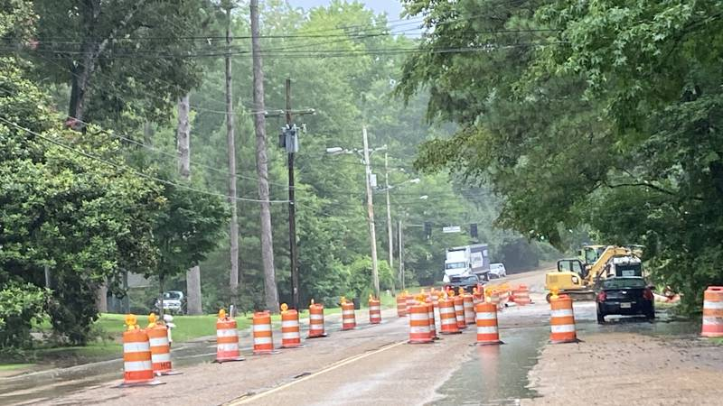 Cones outline the work site for a major sewer repair project along Meadowbrook Road.