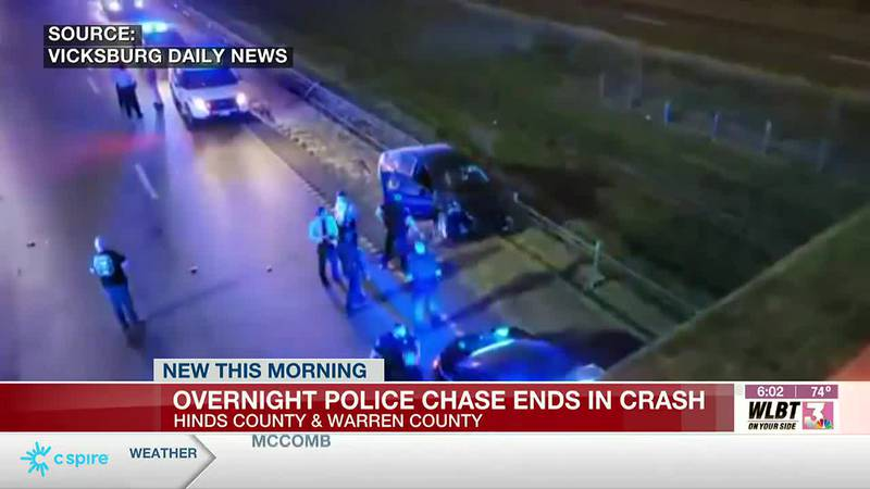 Overnight police chase ends in crash