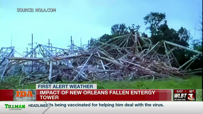How would a transmission tower's collapse impact local power customers?