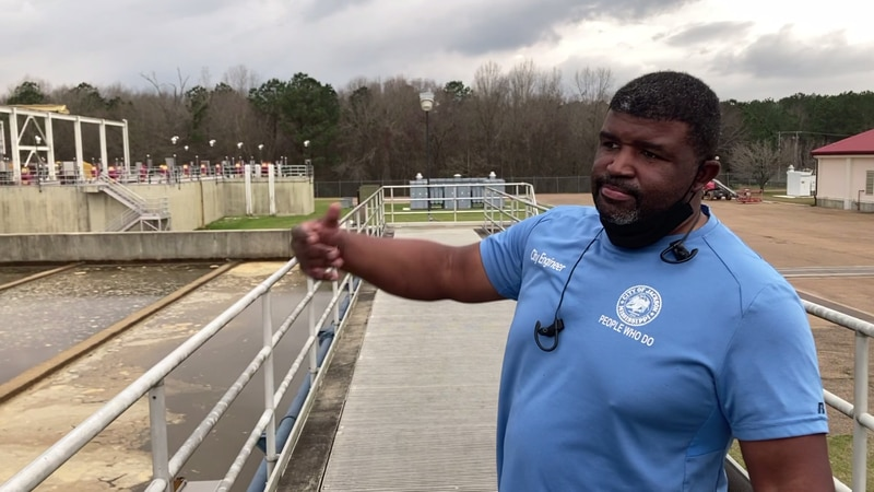 Public Works Director Charles Williams discusses how water is processed at the O.B. Curtis...