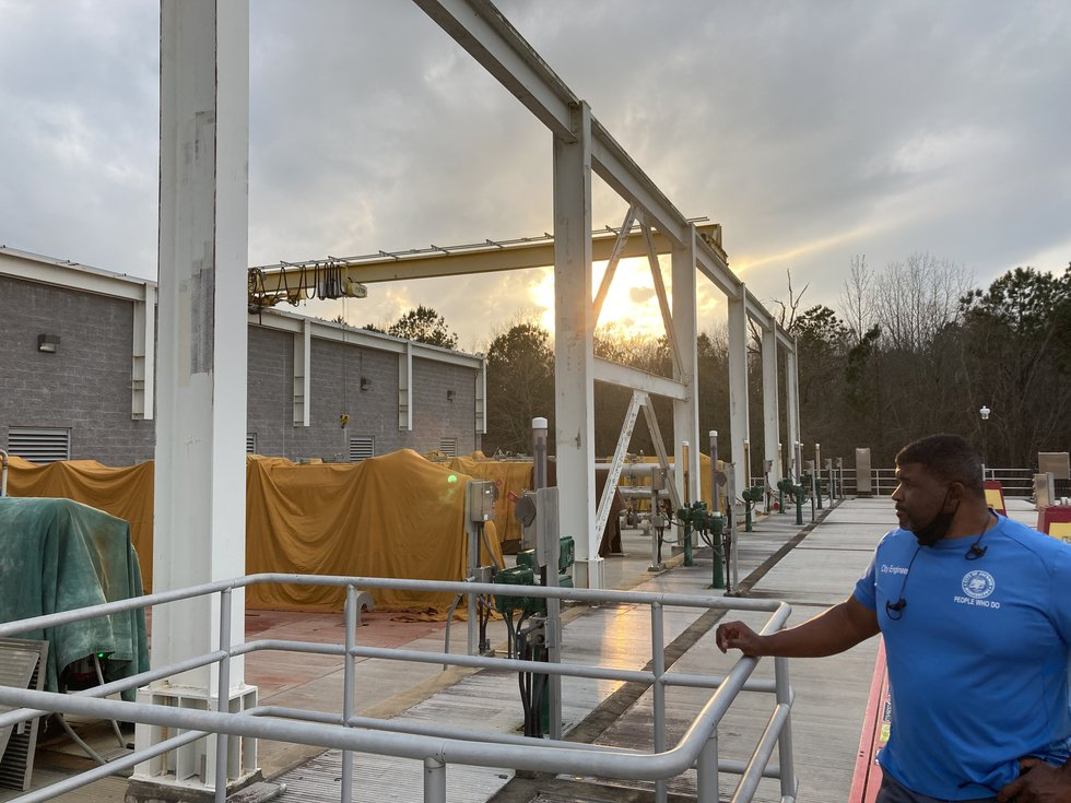 Public Works Director Charles Williams expands the Curtis plant's membrane filtration unit.