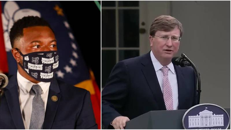 State Representative Jeramey Anderson (l) and Governor Tate Reeves (r)