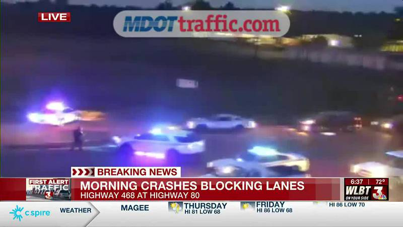 Alert: Crash blocking lanes on Highway 468 at Highway 80