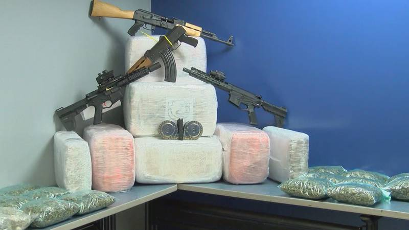 The effort leading to impressive catch of 60 weapons, 20 THOUSAND dollars cash, and 500 pounds...