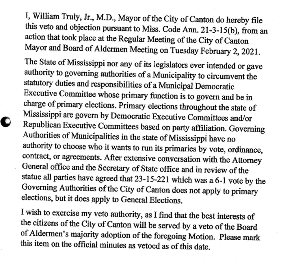 Mayor Truly vetoed the board's decision to recognize the true DMEC.