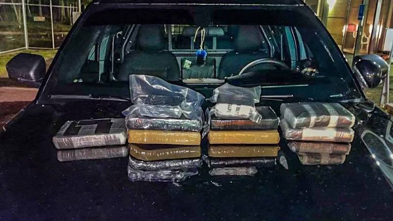 A traffic stop in New Augusta led to the seizure of more than 17 pounds of cocaine.